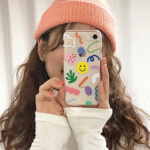 Creative Doodle Smiley, Flower Bee Mobile Shell for iPhone X XS XR XSMax 8 7 6 6S PluS Soft Drop Protection Back Cover