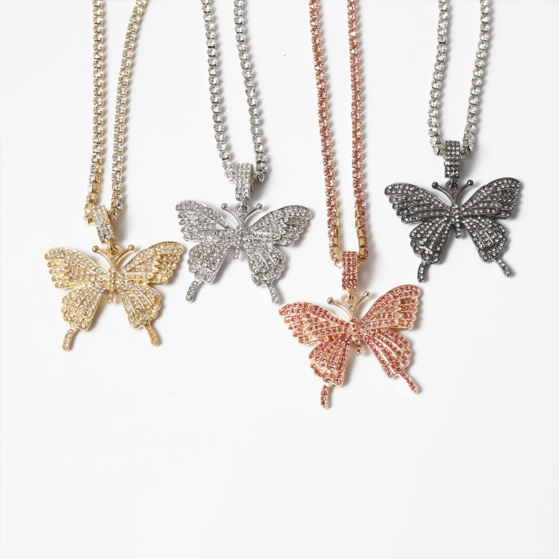 Stonefans Statment Big Butterfly Pendant Necklace Rhinestone Chain for Women Bling Tennis Chain Crystal Choker Necklace Jewelry 3