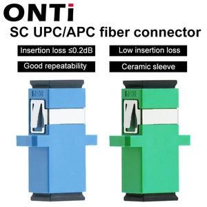 Image 1 - ONTi 200 Pcs  Fiber Optic Connector Adapter SC / UPC SM Flange Singlemode Simplex SC SC APC Coupler Free Shipping Wholesale