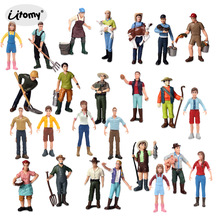 Simulation Farm Staff People Farmer Miniature Figure Toy,Figurines Model Collection Toy Garden Decoration Accessories Statue