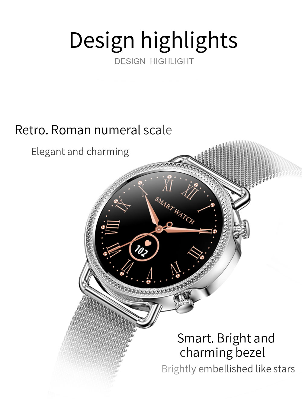H6619f08e3e884076803c736e102a279dX 2021 Women Smart Watch 1.28 inch HD Screen IP67 Waterproof Lady's Watches Body Temperature Heart Rate Monitor PK V23