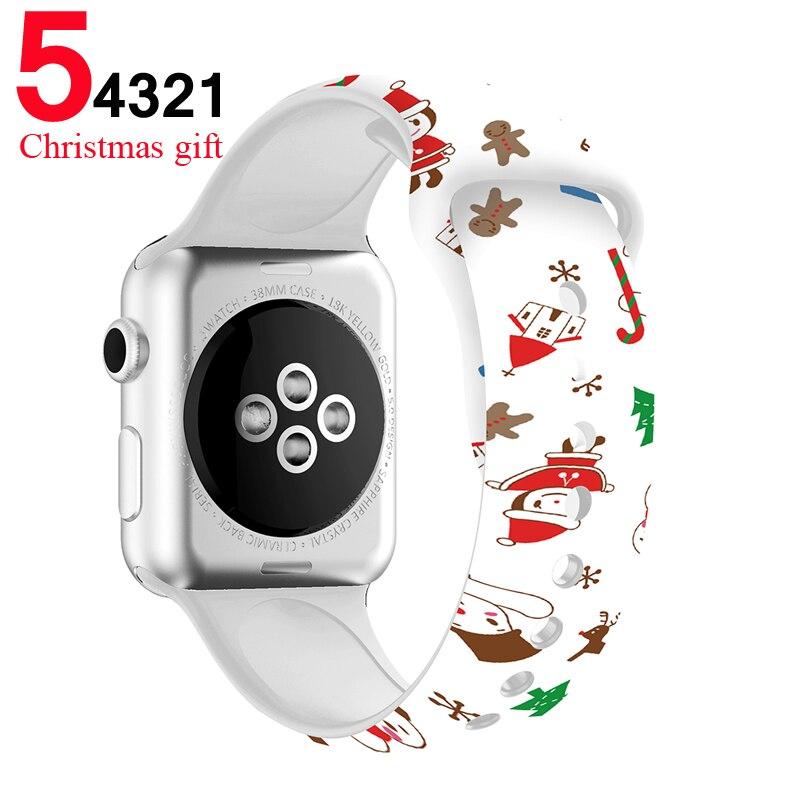 Bracelet en silicone pour bracelet de montre Apple 5 4 44mm 40mm cadeau de noël imprimé Floral doux bracelet de poignet bracelet de montre iWatch 3 2 38mm 42mm
