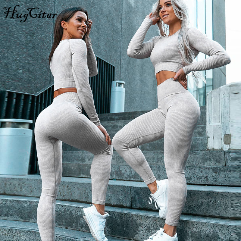 Hugcitar 2019 Long Sleeve Stretchy Sexy Crop Tops Leggings 2 Two Pieces Set Autumn Winter Women Sportswear Tracksuit