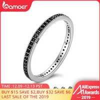 Oferta superior 2018 auténtica Plata de Ley 925 2 colores deslumbrantes CZ anillos apilables para mujer joyería de boda madre regalo SCR114