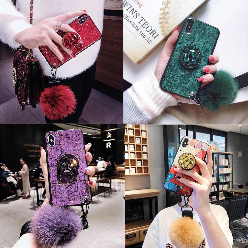 11Pro чехол s DIY ремешок меховой шар кристалл держатель подставка чехол для iPhone 11 pro MAX 8 7 6 Plus XSMAX XR XS Блестящий эпоксидный чехол для телефона