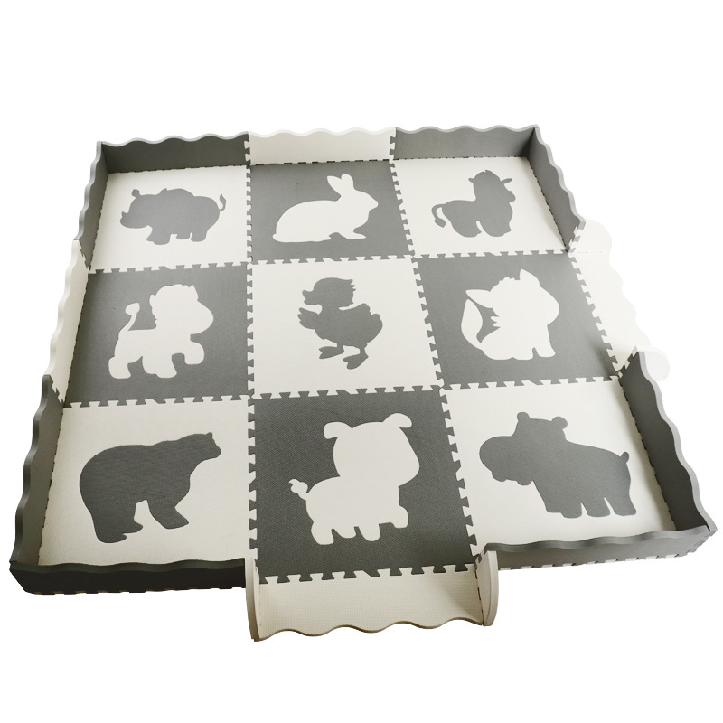 Cartoon Animal Pattern Carpet EVA Foam Puzzle Mats With Fence Kids Floor Puzzles Play Mat For Child Baby Play Gym Crawling Mat