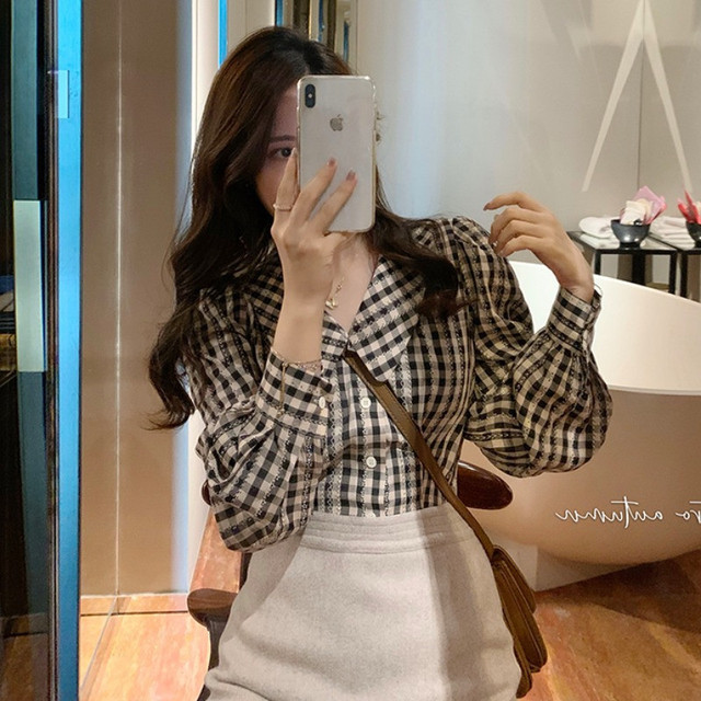Plaid Shirts Women Peter Pan Collar Lantern Sleeve Sweet Tender Elegant Girls Casual New Arrival Top Korean Style Vintage Female 6