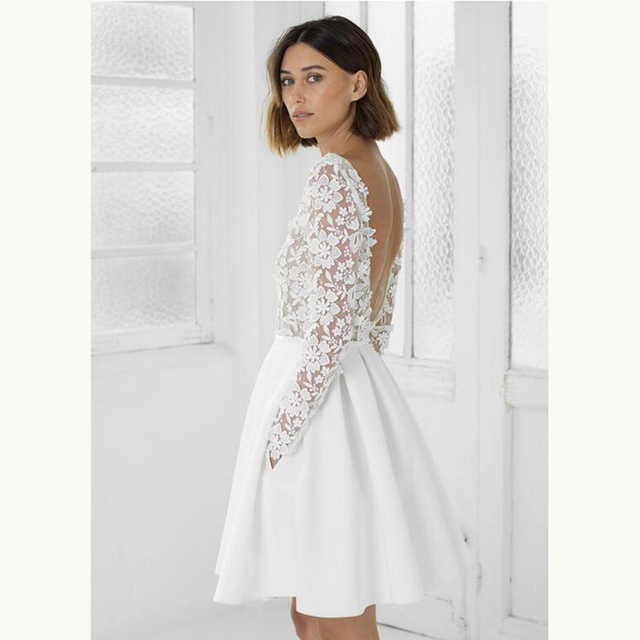 2021 Modern Sexy Short Lace Backless Bridal Wedding Dresses Long Sleeves Jewel Neck Wedding Gowns for Bride Mini Length Hot Sale 5