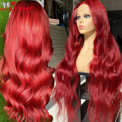 Парик Remy из натуральных волос, на сетке, предварительно выщипанные передние парики, волнистые темно-красные, 180% плотность, 13x6, с глубоким раз...
