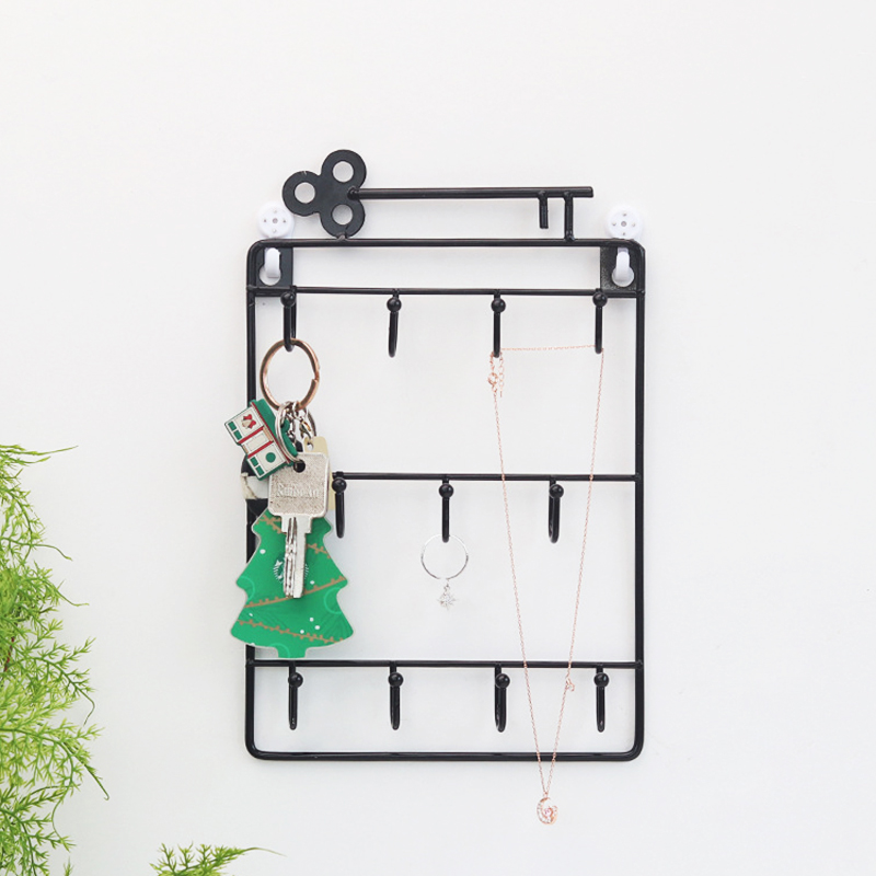 Creative Wall Decoration Multi-function Storage RacksWall Key Hook Wrought Iron Racks Hanging Basket