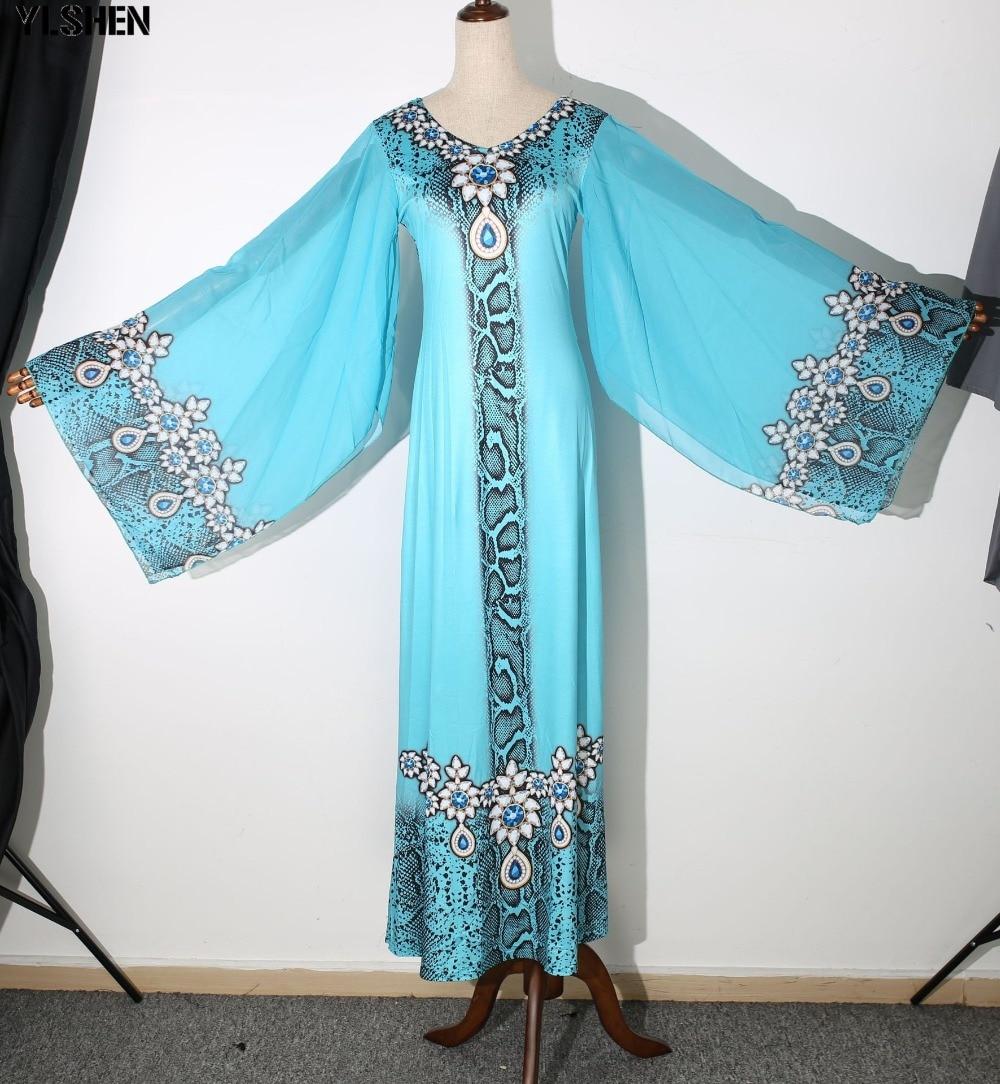 New African Dresses for Women Dashiki Diamond African Clothes Bazin Riche Sexy Slim Ruffle Sleeve Robe Evening Long Africa Dress 11