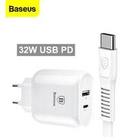 Baseus tipo c pd carga rápida usb carregador 32 w adaptador de plugue da ue com cabo pd carregamento rápido para samsung s9 s8 para huawei xiaomi Carregadores de celular     -