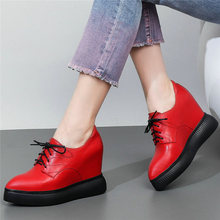 Tennis Shoes Women Lace Up Genuine Leather Platform Wedges High Heel Pumps Shoes Pointed Toe Creepers Punk Trainers Casual Shoes недорого