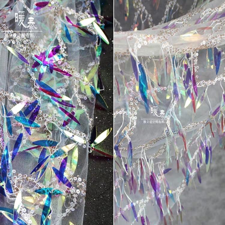Colored Oval Sequins Mesh Yarn Glitter Fabric Vestidos Fashion Wedding Dress Background Clothes Design Fabric DIY 50 X 110cm