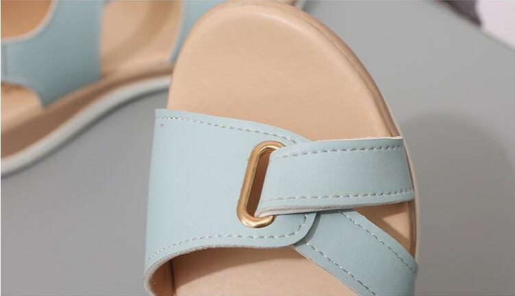 H661ac50584df4faf9017df4a8948f44ba Summer Women Sandals platform heel Leather hook loop metal Soft comfortable Wedge shoes ladies casual sandals V284