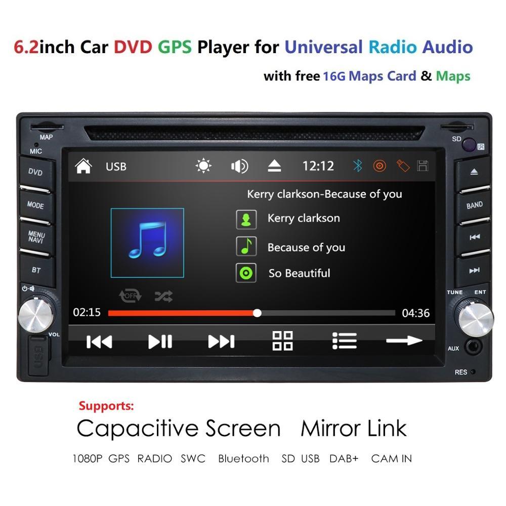 Car DVD Player In Dash Stereo WINCE System Head Unit GPS Navigator 2 Din Autoradio steering-wheel USB SD DAB+ Bluetooth Rearcam