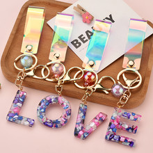 2021 New Creative 26 Initials Letter Key Chain Resin Pendant Alphabet Key Ring Party Gift Jewelry for Women Accessory EH1000