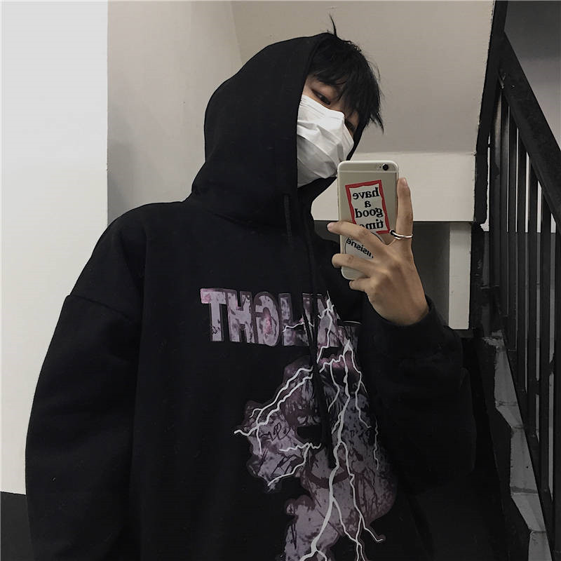 Japanese Fashion Harajuku High Street Hoodie Loose Gray Black Cool Autumn Mens Loose Couple Fashion Sweatshirts Printed Tops