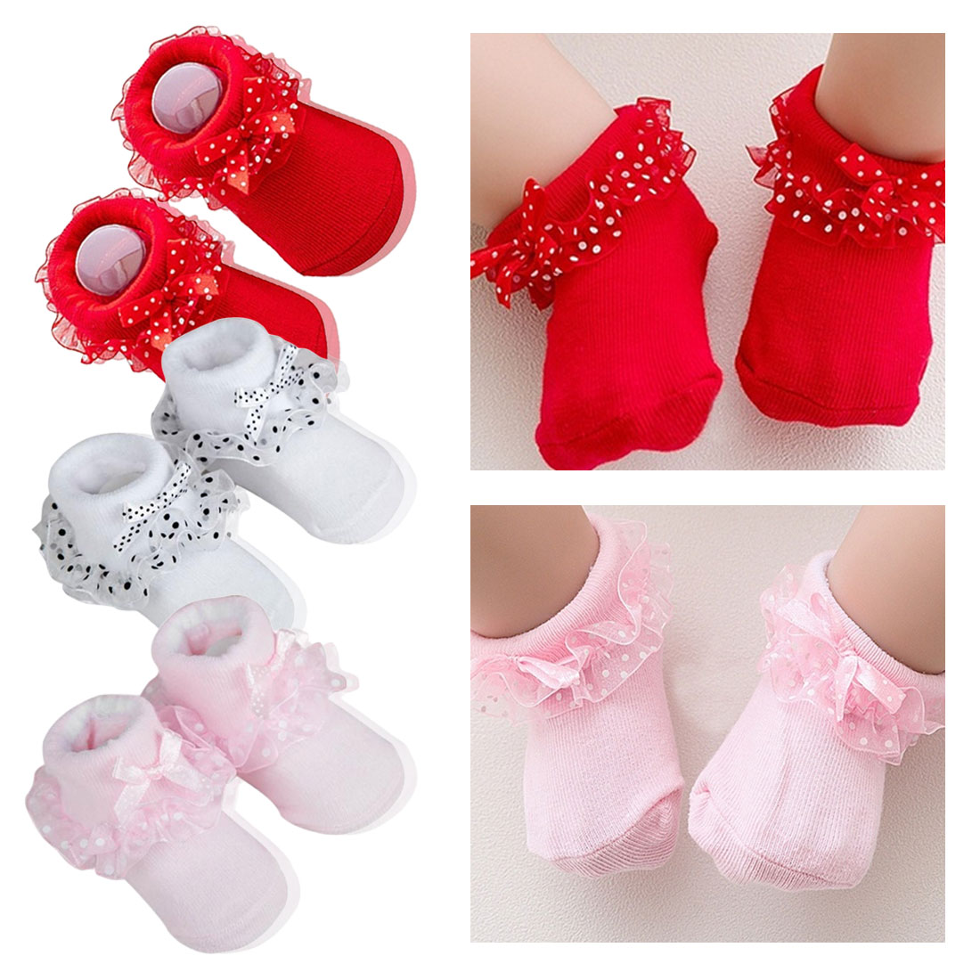 Lace Baby Socks Girls&Boy Soft Cotton Polka Dot Ptint Tutu Newborn Socks Infant Ankle High Short Baby Girl Socks 0-12 Months