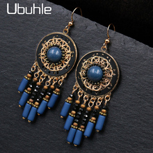Vintage Ethnic Dangle Drop Earrings Blue Beads Crystal Dangle Earrings for Women Female Bridal Party Wedding Jewelry Accessories vintage ethnic leaf shape drop dangle earrings hanging blue stone beads earrings for women fashion wedding jewelry accessorries