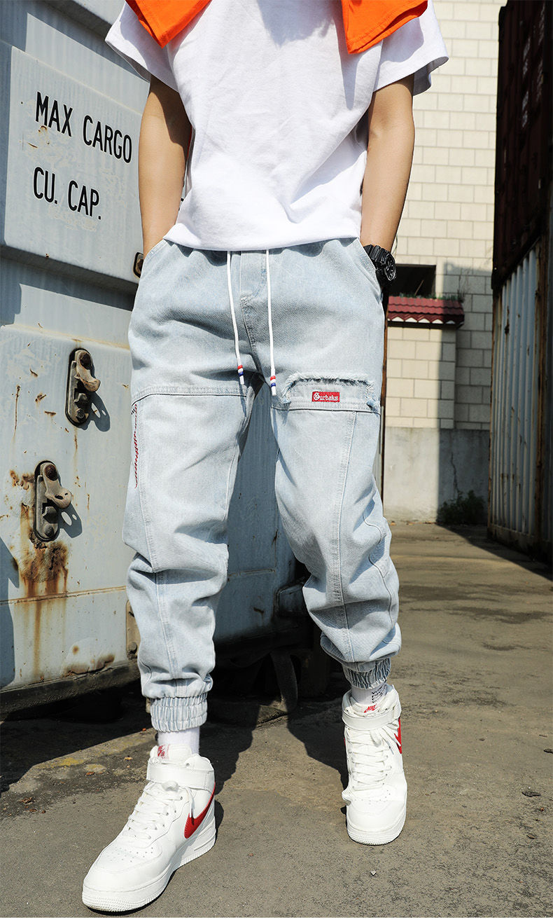 Fipyjip Street Wear Hip Hop Cargo Pants Men's Jeans Cargo Pants Stretch Harlan Pants Jogging Pants In The Fall And Spring