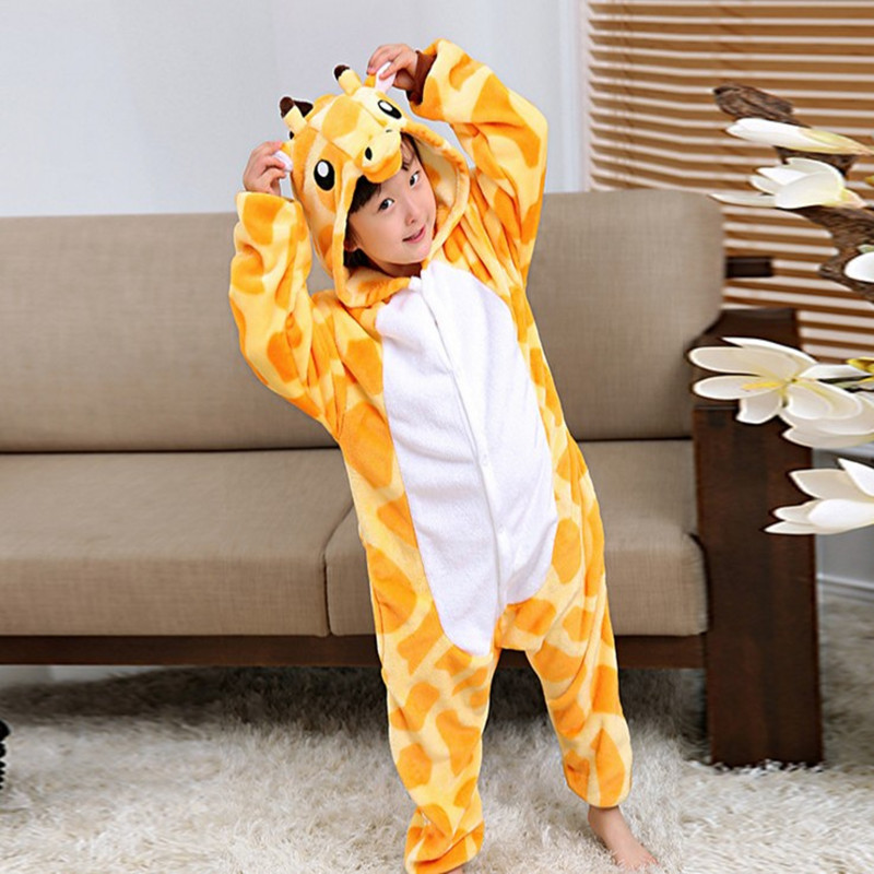 Children Flannel Giraffe Animal Cartoon One-piece Pajama Men And Women Long Sleeve Toilet Edition Costume