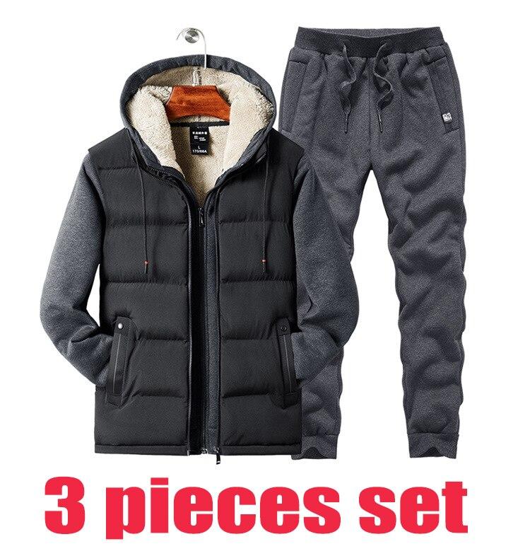 2019 New Lamb Cashmere Vest+sweatshirt+pants 3 Pieces Set Men Plus Velvet Hoodies Thick Warm Jacket Casual Tracksuits