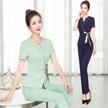 Female technician take long pants set bowknot 2020 new SPA beauty salon temperament foot bath overalls