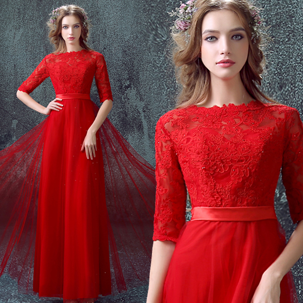 Vestido Longo Half Sleeves Sashes Sexy Long Red Lace Evening Formal Gown 2018 Prom Robe De Soiree Mother Of The Bride Dresses