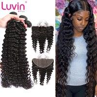 Luvin, глубокая волна, бразильские пряди волос, человеческие волосы для наращивания, 3 пряди с фронтальной застежкой, волнистые пряди с фронтал...
