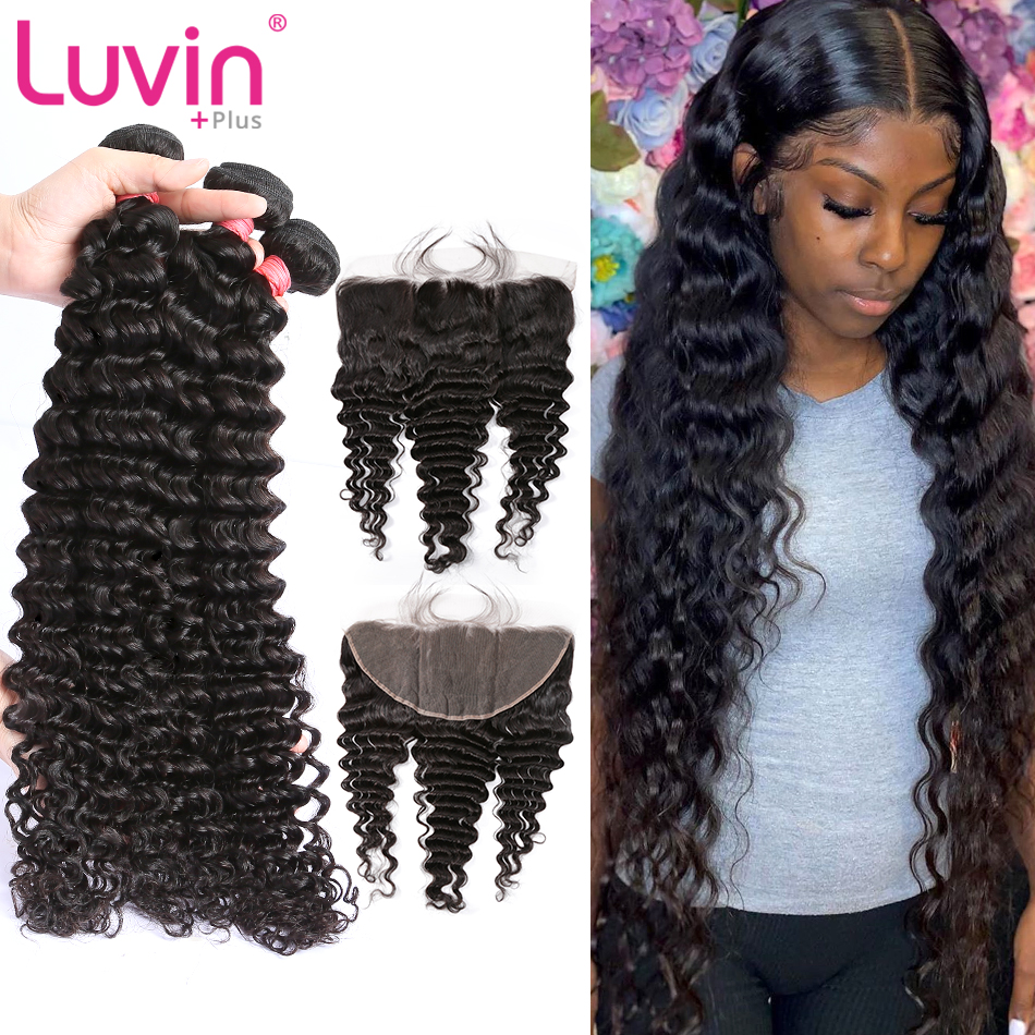 Luvin Hair-Bundles Frontal Closure Human-Hair-Extension Deep-Wave Brazilian  title=