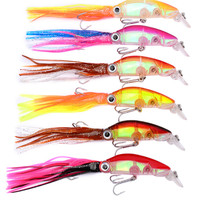 6pcs/lot 12cm 20g Lifelike Octopus Fishing Lure With Treble Hook Jigs Peche Artificial Squid Hard Bait For Tuna Sea Allure Tool|Fishing Lures| |  -