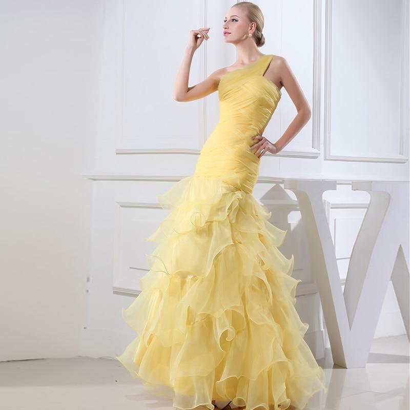 Een Schouder Mouwloze Kant Licht Geel Meisje Prom Dresses 2020 Tiered Lange Wedding - 3