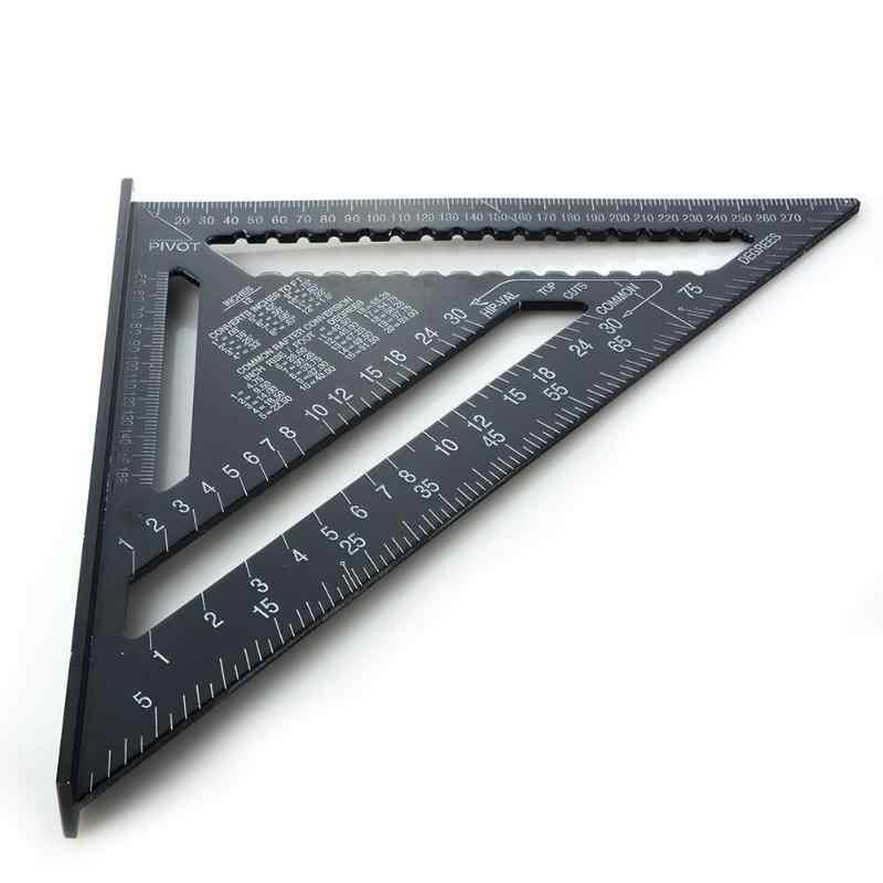 الدقة 7/12 بوصة عالية الدقة مثلث حاكم للنجارة سبائك الألومنيوم قراءة سريعة مربع تخطيط قياس أدوات القياس