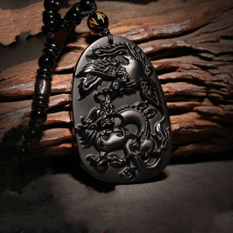 Natural Black Obsidian Beads Necklace Hand-Carved Dragon Phoenix Jade Pendant Fashion Charm Jewelry Amulet For Man Women Gifts