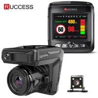 Ruccess STR-LD200-G 3 в 1 Автомобильный видеорегистратор, радар-детектор лазер с GPS Full HD 1296P 1080P двойной видеорегистратор Камера фронтальная и задняя