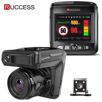 цена на Ruccess STR-LD200-G 3 in 1 Car DVR Radar Detector Laser With GPS Full HD 1296P 1080P Dual Recorder Dash Camera Front and Rear