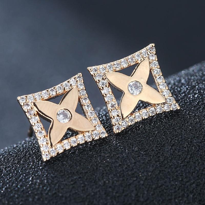 European and American simple temperament ladies sweet square flower zircon copper earrings hot explosion