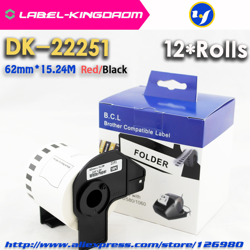 12 Rolls Compatible DK 22251 Red/Black Double Color Label 62mm*15.24M DK 2251 Continuous Label Come With Plastic holder Printer Ribbons     - title=
