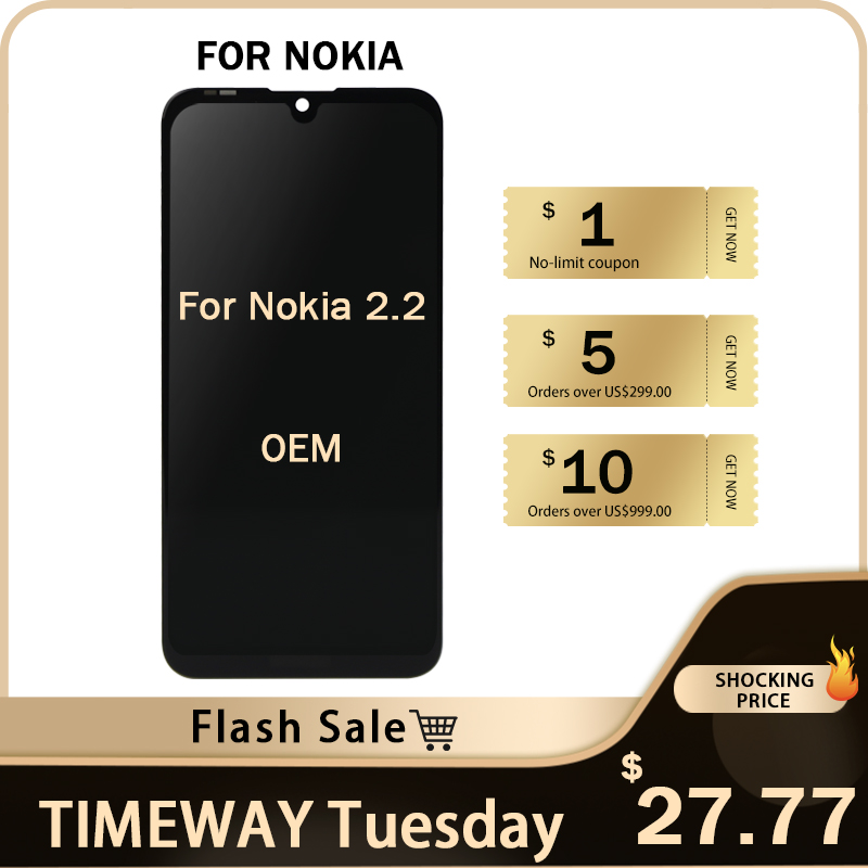 """Timeway Flash SALE for Nokia 2.2 TA-1183 lcd screen 5.7"""" black no dead pixel assembly replacement for Nokia 2.2 lcd Display"""