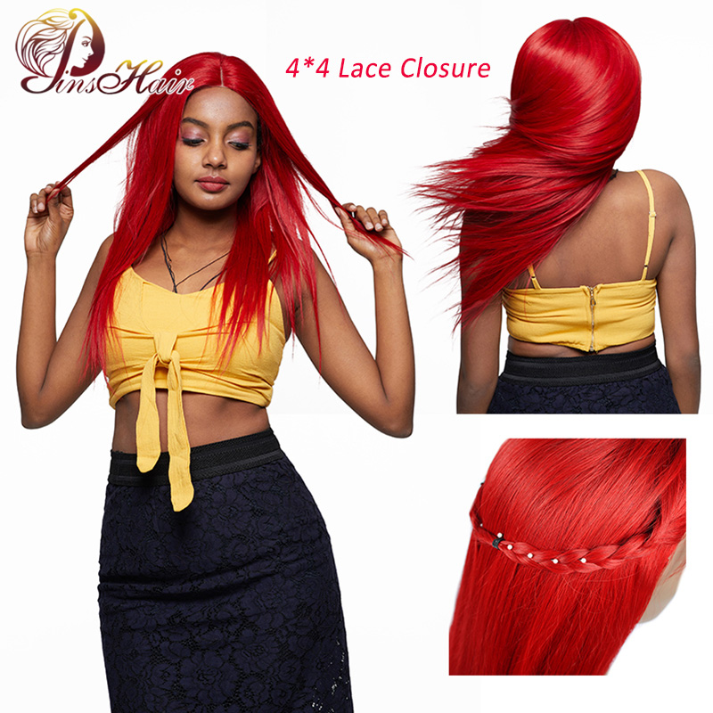 Pinsahir Red Lace Closure Human Hair Wigs 4*4 Lace Closure Straight Hair Wigs 99J Burgundy Brazilian Nonremy Human Hair Lace Wig