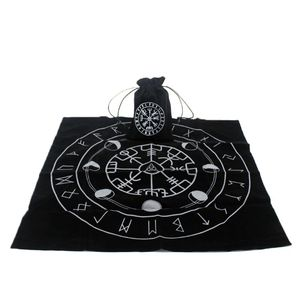 New Tarot Tablecloth with Tarot Bag Rune Moon Phase Wicca Altar Divination Board Game Velvet Vintage Card Pad