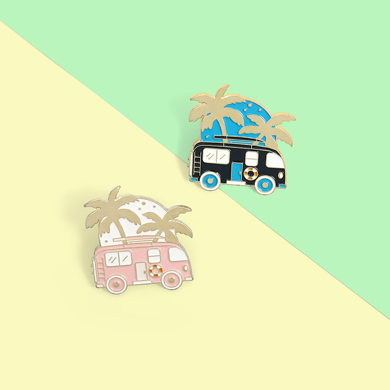 Cute Cartoon Bus Travel Enamel Pins Recreational Vehicle Brooches Bag Lapel Pin Adventure Badges Fun Jewelry Gift for Friends