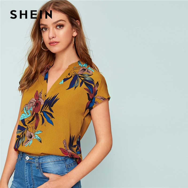 SHEIN Amarelo Com Decote Em V Floral Imprimir Entalhado Blusa Partes Superiores das mulheres e Blusas de Verão de Manga Curta Casuais Boho Blusa Superior Das Senhoras