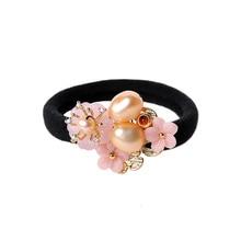 Elegant Pearl Hair Rings Ethnic Pink Resin flower Ropes China Handmade Ornaments crude flexibility Head rope