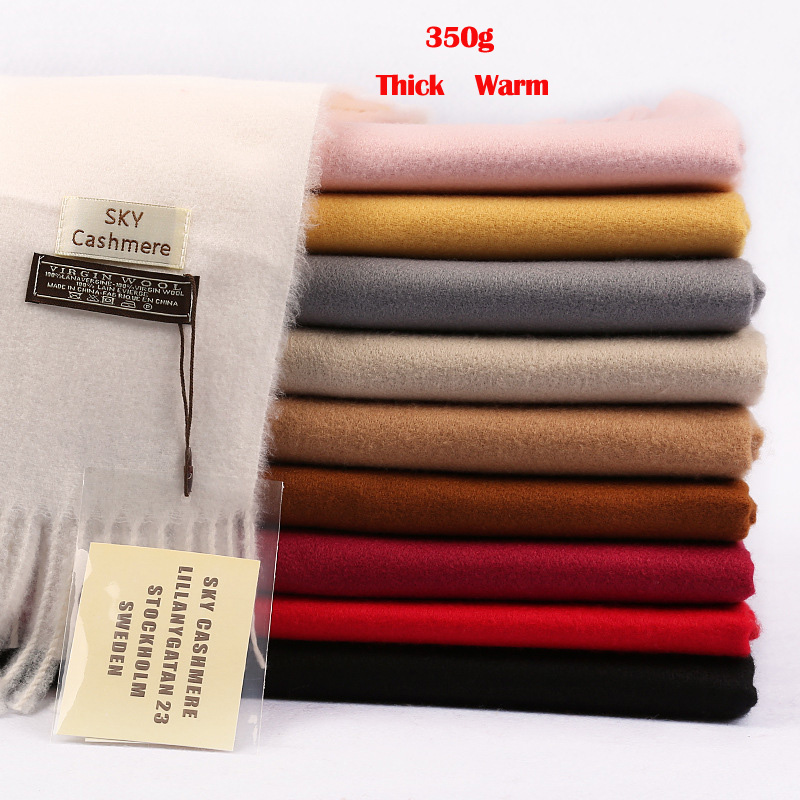 High Quality Winter Warm Thick Plain Cashmere Scarf Long Tassels Large Pashmina Shawls 200x70cm 15 Colors
