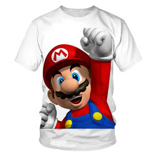 New 2021 Cartoon Casual Summer Short Sleeve T Shirt Men Fashion Tshirt 3D Printed Super Mario Kids Boys Girls T-Shirt Tops Tees