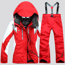 Suits Women's Jackets Snowboard-Set Windproof And Coat Pant Hooded Warm Female Thicken