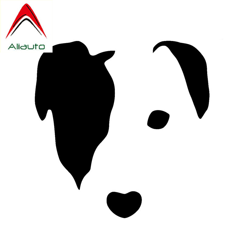 Aliauto Cartoon Car Sticker Cute Jack Russell Face Dog Vinyl Waterproof Reflective Creative Decal Black/Silver,11cm*11cm image