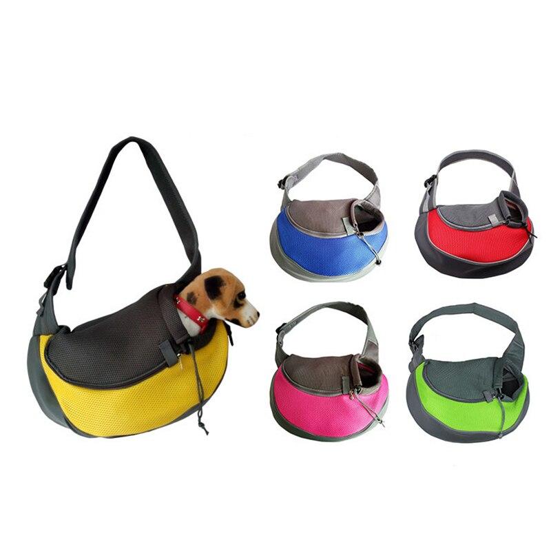 Konfor Pet köpek taşıyıcı açık seyahat el çantası çantası örgü Oxford basit omuz çantası Sling örgü seyahat çantası omuzdan askili çanta